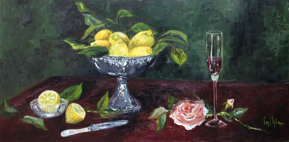 100X50 - NATURE MORTE AUX CITRONS - 530€